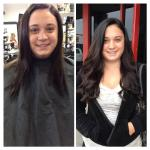 Before/after long, beautiful extensions! Stylist: Haley