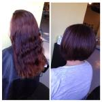 From four different levels of old box color red, to a rich brown with highlights and sassy a-line! Stylist: Haley